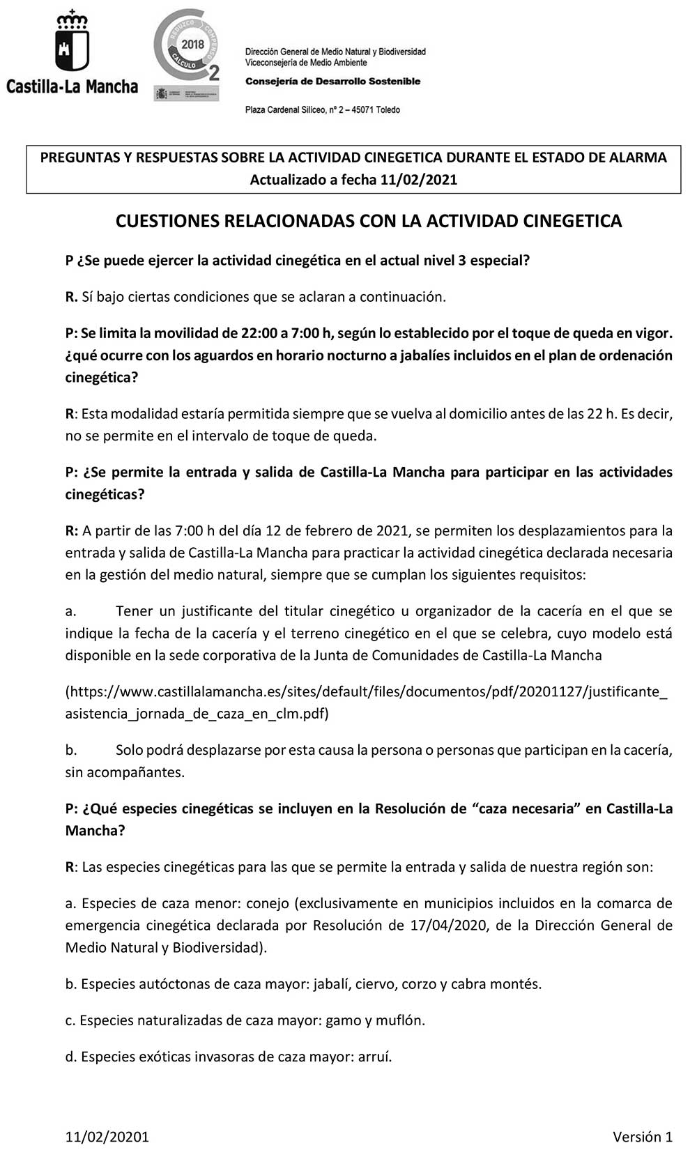 Preguntas y Respuestas sobre la actividad cinegética en Castilla la Mancha