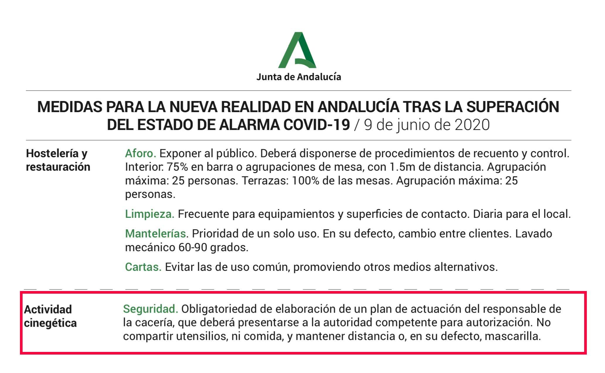 Medidas a tomar para la prevención del Covid-19 en Andalucía