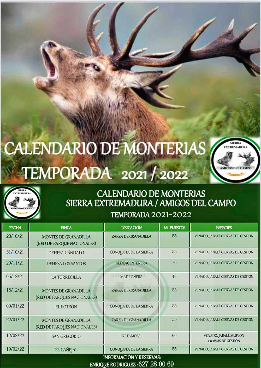 Programa Monterías Sierra Extremadura