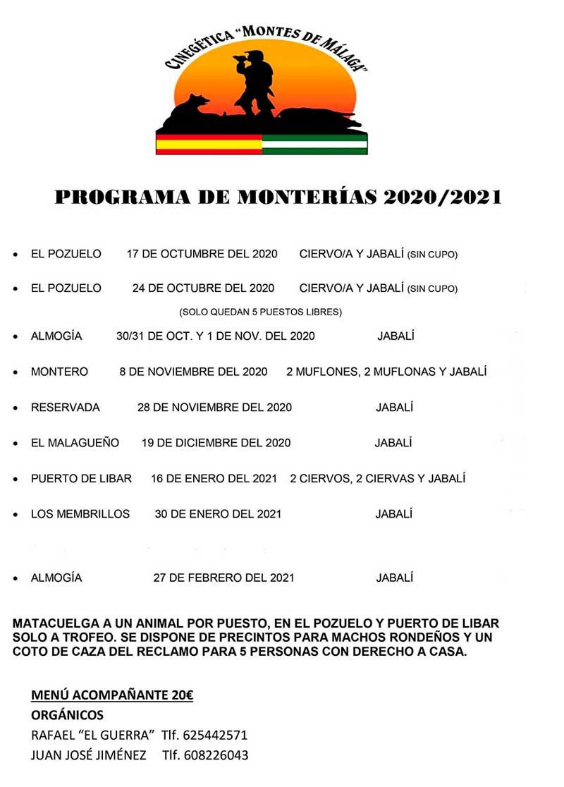 Programa Monterías Cinegética Montes de Málaga