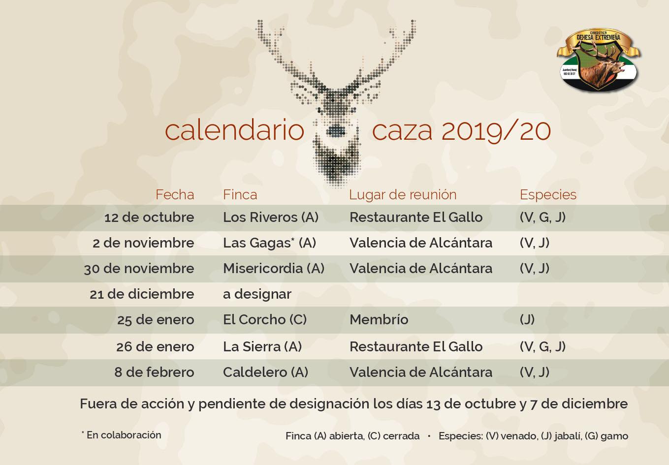 Programa Monterias Cinegetica Dehesa Extremeña