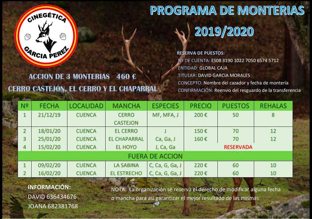 Programa Monterías Cinegética García Pérez
