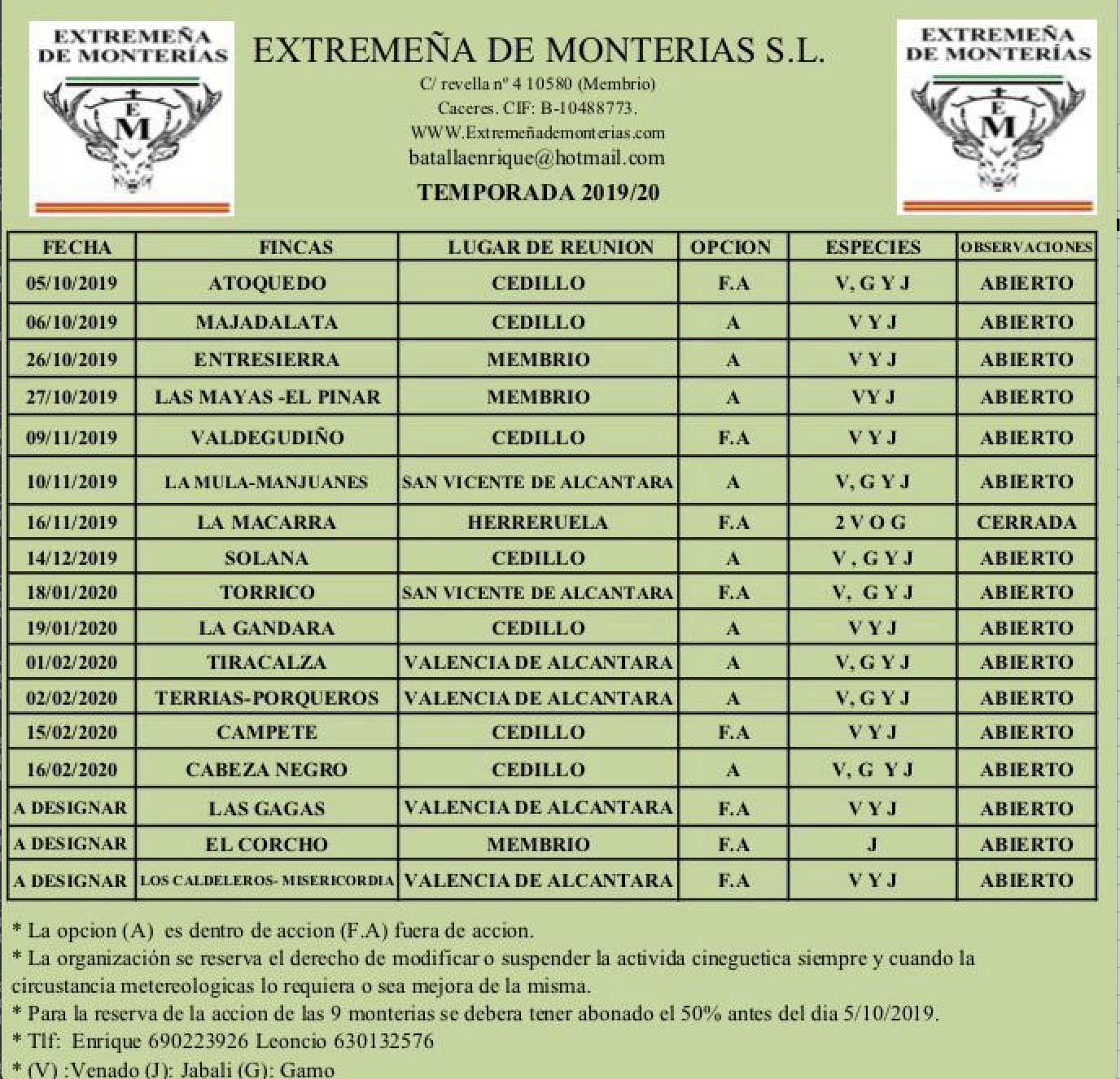 Programa Monterias Extremeña de Monterias