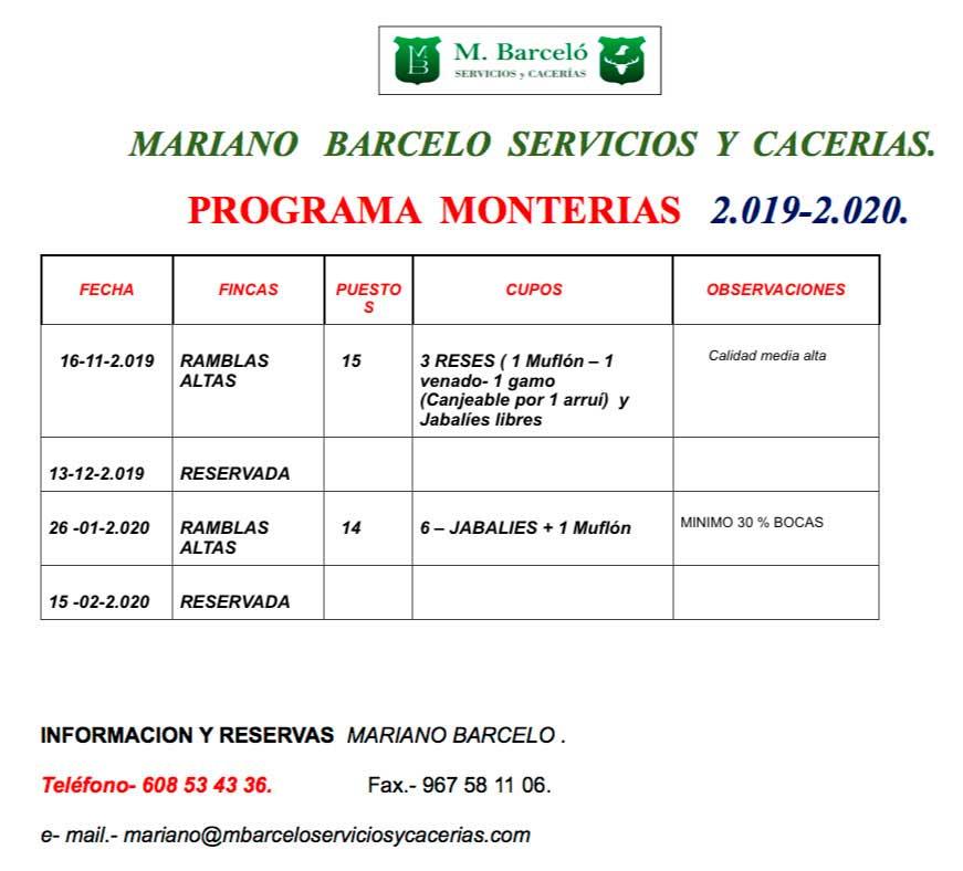 Programa Monterias Mariano Barcelo