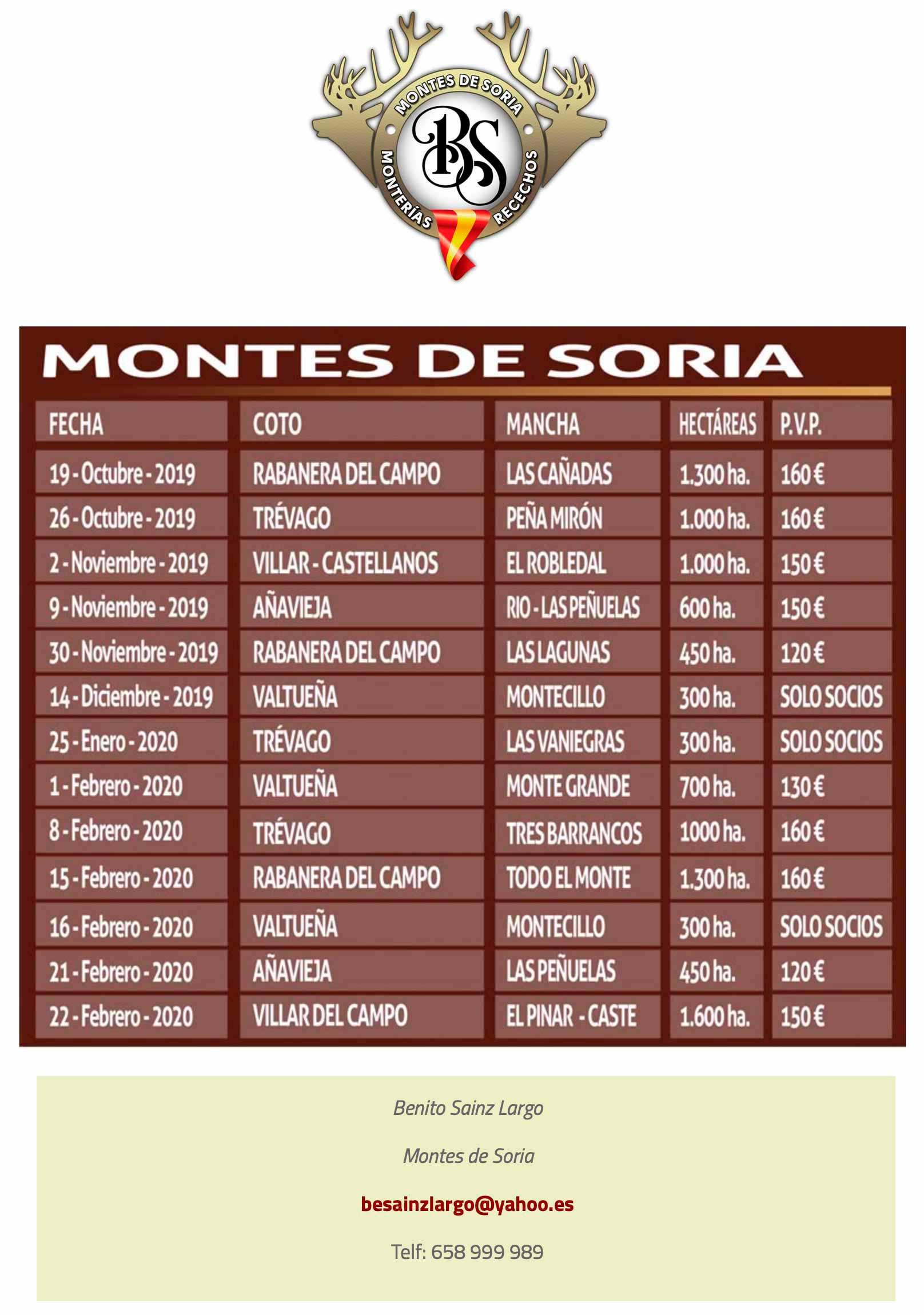 Programa Monterías Montes de Soria
