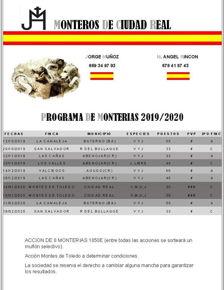 Programa Monterías Monteros de Ciudad Real