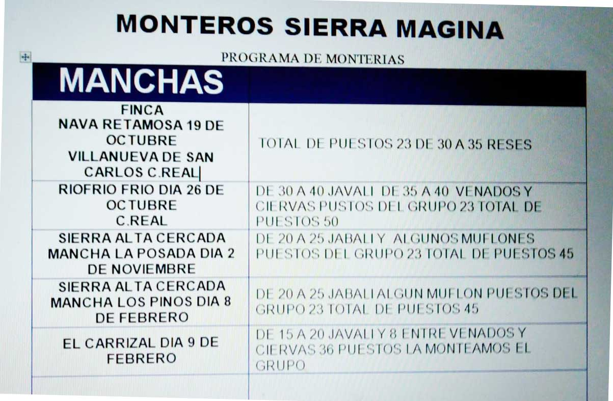 Programa Monterías Monteros Sierra Magina