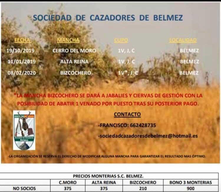 Programa Monterias Sociedad Cazadores Belmez